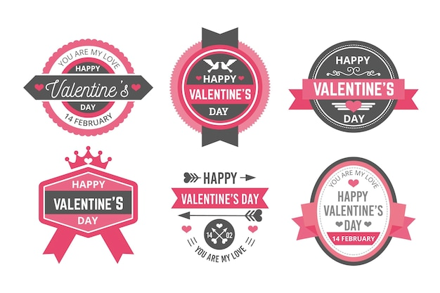 Valentine's day label collection in flat design Free Vector