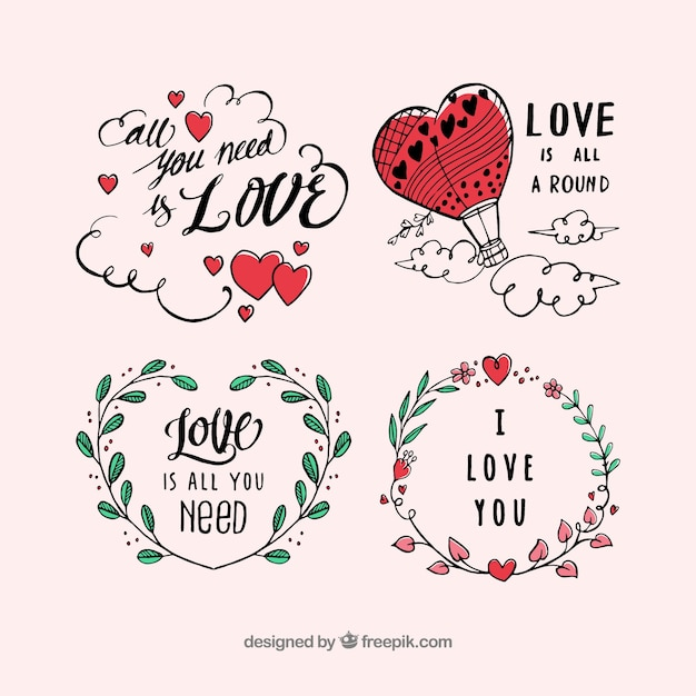 Valentine's day label collection Free Vector
