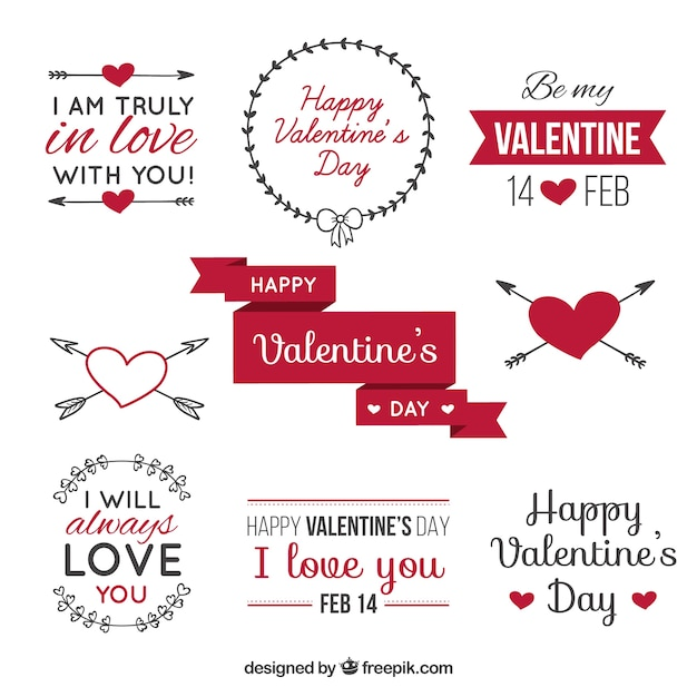 Valentine's day label pack Free Vector