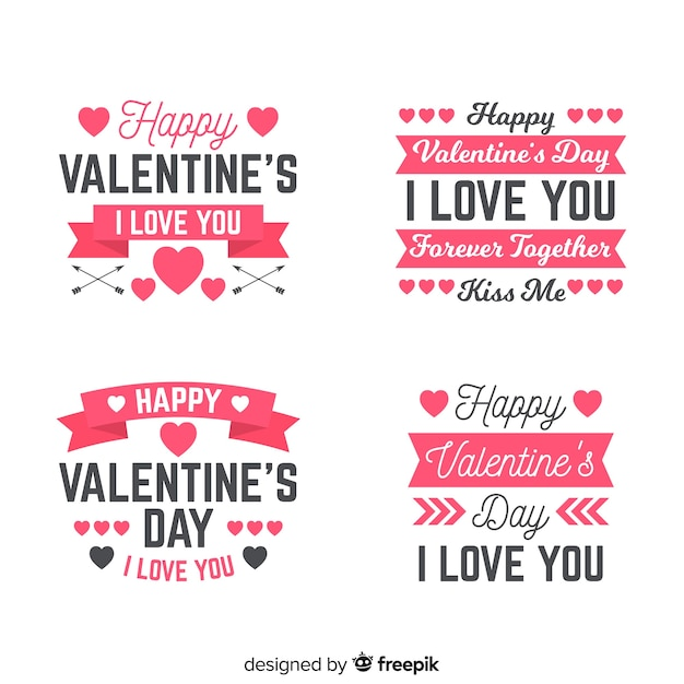 Valentine's day label & quote collection Free Vector