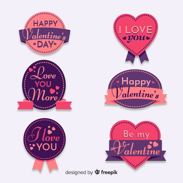 Valentine's day lettering badges collection Free Vector