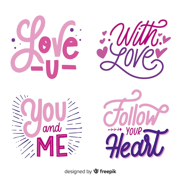 Valentine's day lettering sticker collection Free Vector