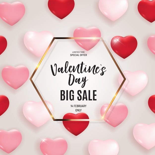 Valentine's day love and feelings sale banner template Premium Vector