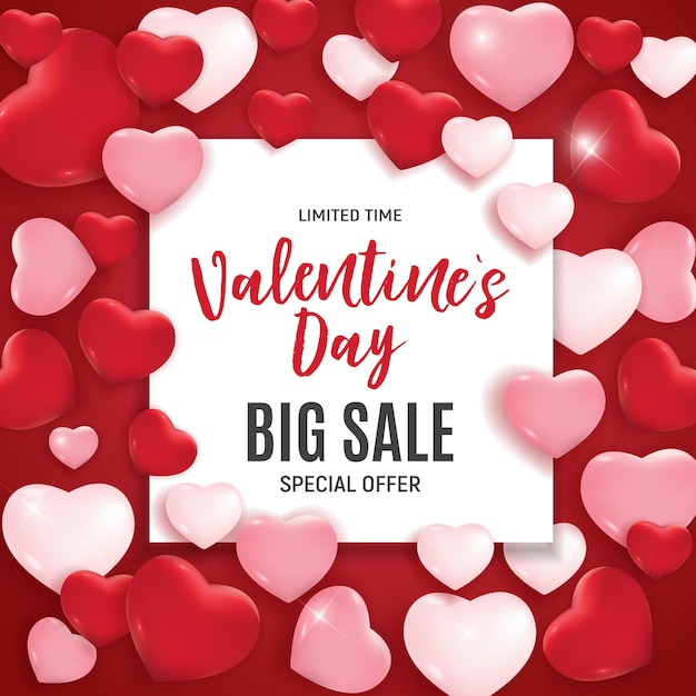 Valentine's day love and feelings sale. Premium Vector