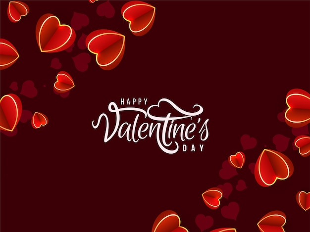 Valentine's day lovely background with hearts Free Vector