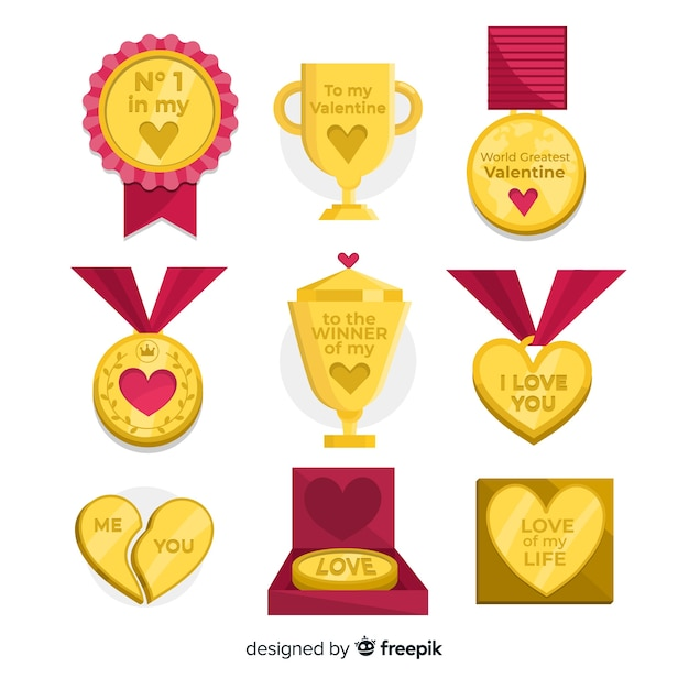 Valentine's day medal collection Free Vector