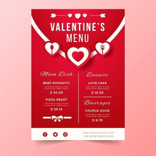 Valentine's day menu envelope design Free Vector