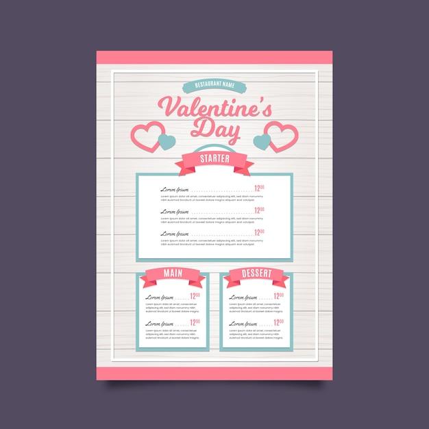 Valentine's day menu template in flat design Free Vector