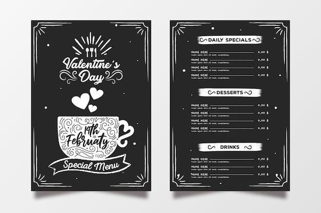 Valentine's day menu template hand drawn Free Vector