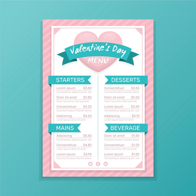 Valentine's day menu template with heart Free Vector