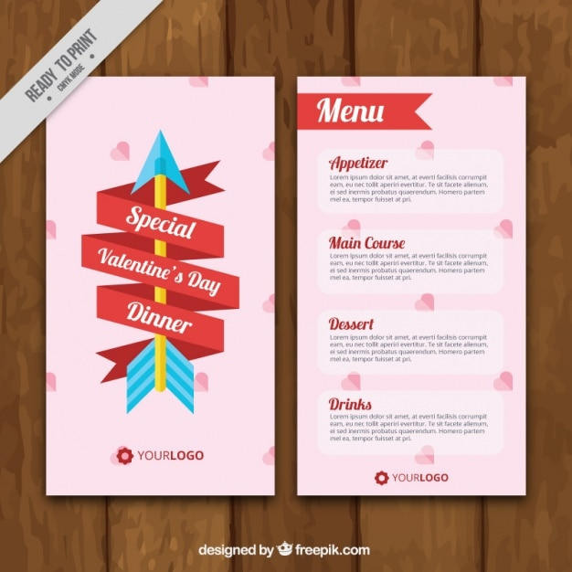 Valentine S Day Menu Template With Ribbon And Arrow Vector Free