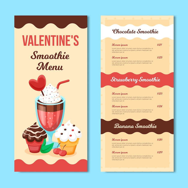Valentine's day menu template with smoothie Free Vector