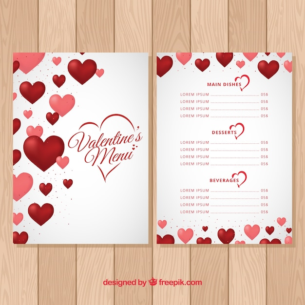 Valentine\'s day menu template