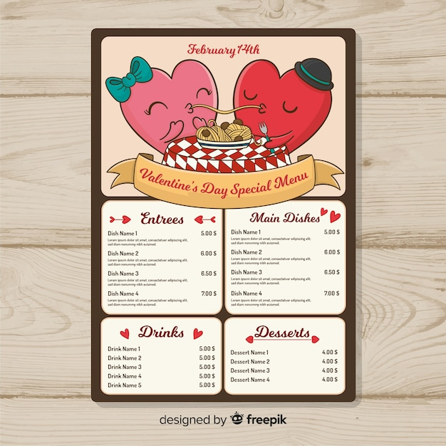 valentine s day menu template vector free download