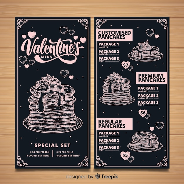 Valentine's day menu template Free Vector