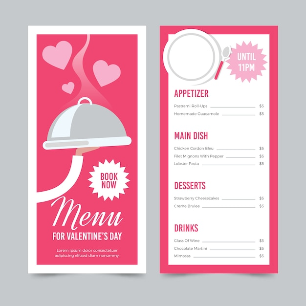 Valentine's day menu and waiter with tray Free Vector