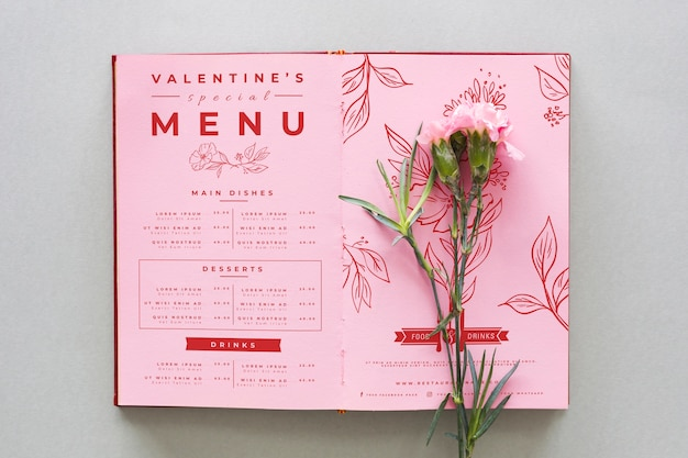 Valentine's day menu with carnation flowers Free Vector