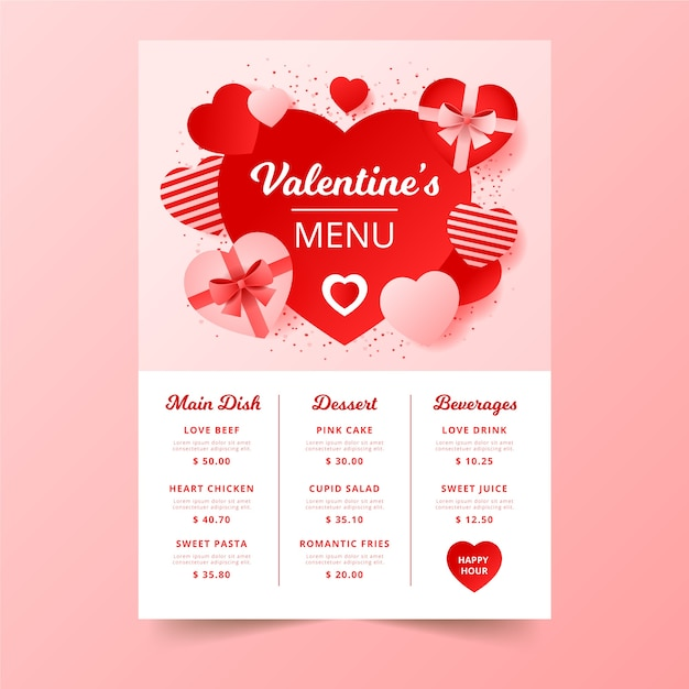 Valentine's day menu with chocolate boxes Free Vector