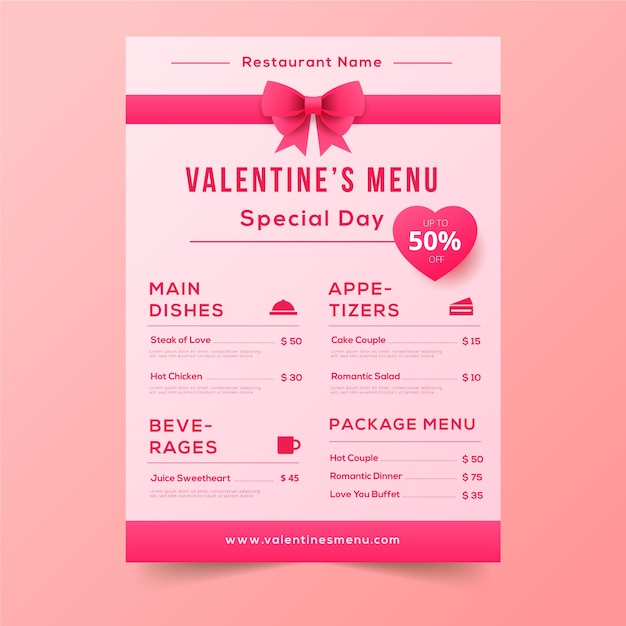 Valentine's day menu with cute pink ribbons Free Vector