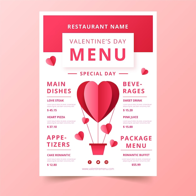 Valentine's day menu with hot air balloon heart shaped Free Vector