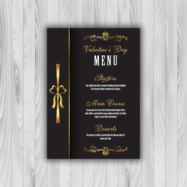 Valentine's day menu Free Vector