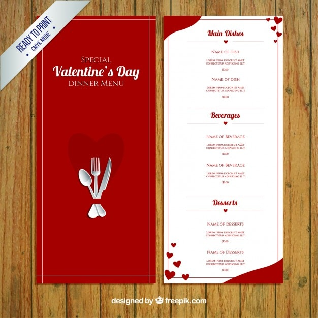 Valentine S Day Menu Vector Premium Download