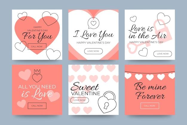 Valentine's day mobile phone social media stories Free Vector