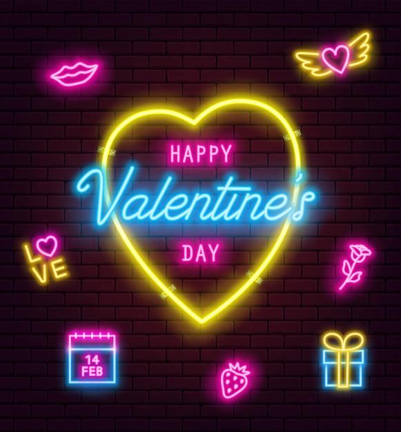 벽돌 벽 바탕에 발렌타인 네온 사인. 배너, 전단지, 포스터, 빛나는 발렌타인 네온 사인 인사말 카드. 벡터 일러스트 레이 션 프리미엄 벡터