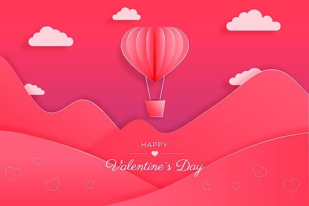 紙のスタイルのバレンタインデー 無料ベクター