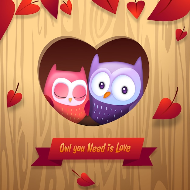 Free Vector Valentine S Day Owls Cuddle With Love Heart Tree Home Vector Illustration