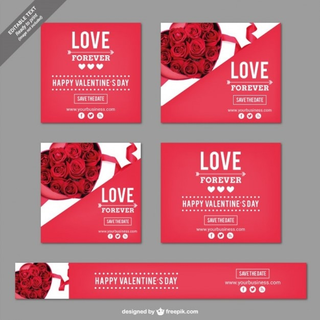Valentine's Day pack Free Vector