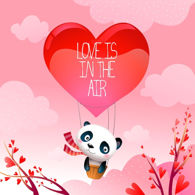 Valentine's Day Panda Bear in Rising Hot Air Love Balloon Vector Illustration Free Vector