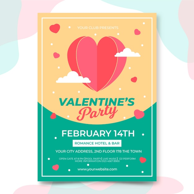 Valentine's day party flyer template in flat design Free Vector
