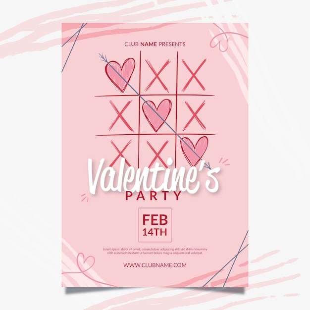 Valentine's day party flyer template Free Vector
