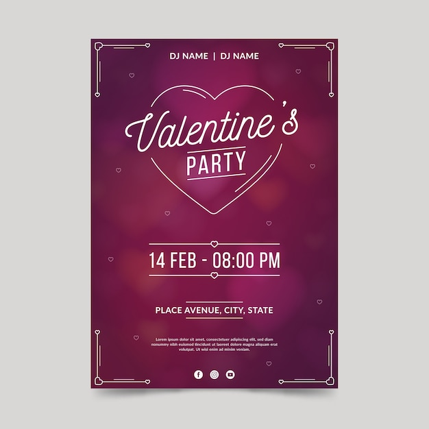 Valentine's day party poster template in flat design Free Vector