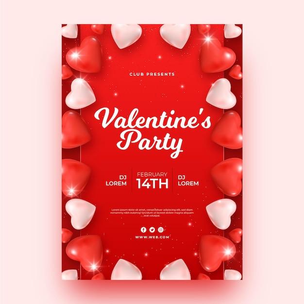 Шаблон плаката для вечеринки ко дню святого валентина Бесплатные векторы