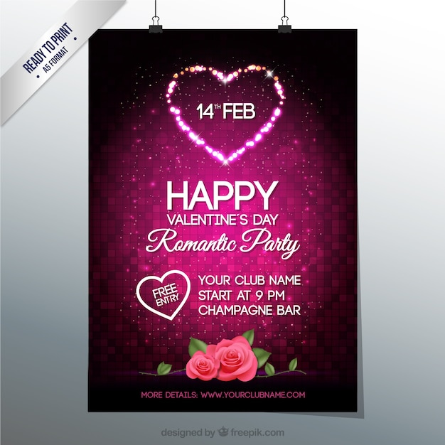 valentines day party poster free vector - Valentine Poster