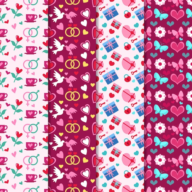 Valentine's day pattern collection in flat design Free Vector