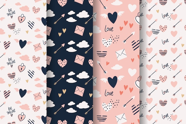 Valentine's day pattern collection hand drawn style Free Vector