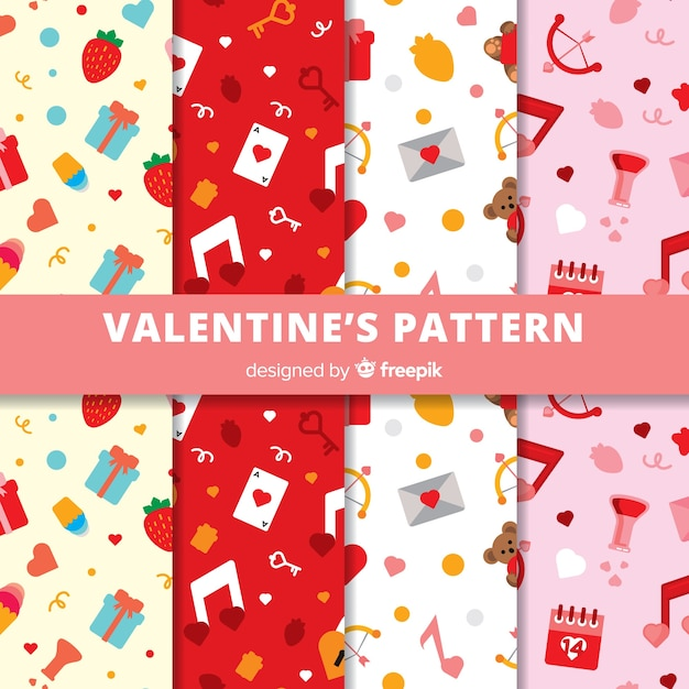 Valentine's day pattern collection Free Vector