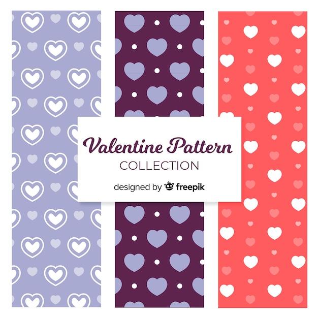 발렌타인 패턴 컬렉션 무료 벡터