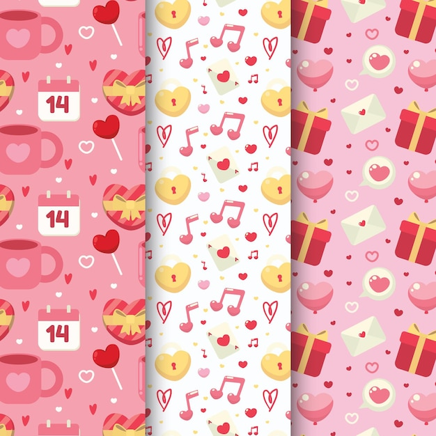Valentine's day pattern pack Free Vector