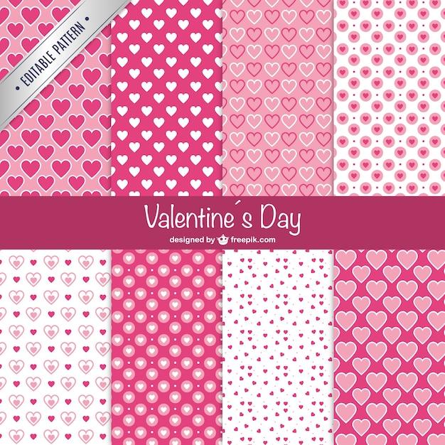 Valentine's day patterns Free Vector