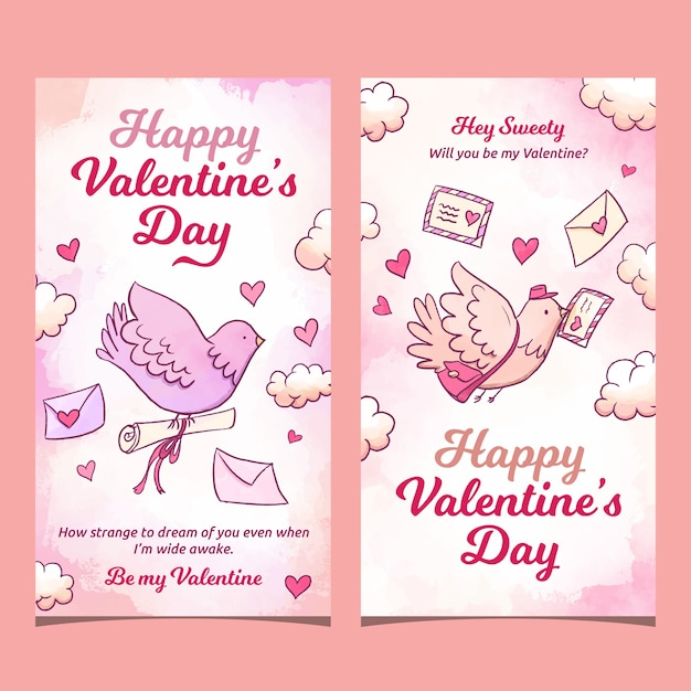 Valentine's day pigeon carrying letters banners Free Vector