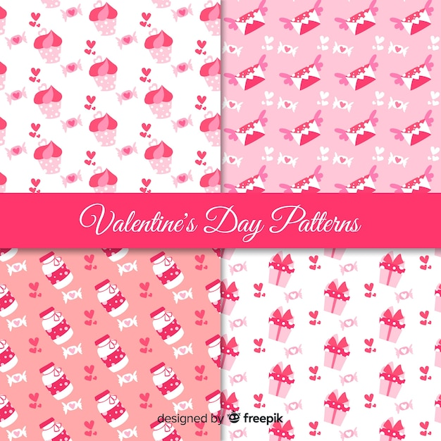Valentine's day pink pattern collection Free Vector
