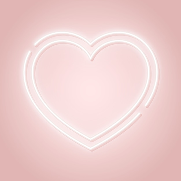 Valentine's day pink signboard with glowing heart silhouette. Premium Vector