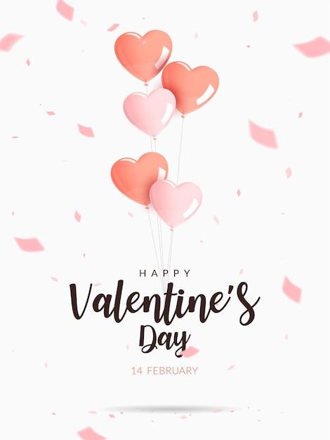 Плакат ко дню святого валентина. гелиевые розовые и оранжевые шары в форме сердца с конфетти. Premium векторы