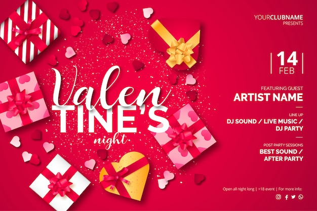 Valentine's day poster template with lovely presents Free Vector