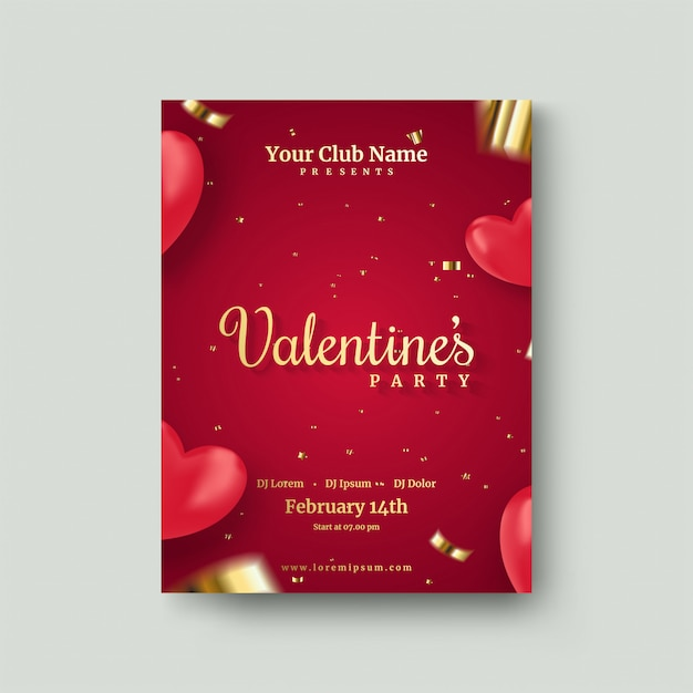 Valentine's day poster with 3d red love balloons Premium Vector