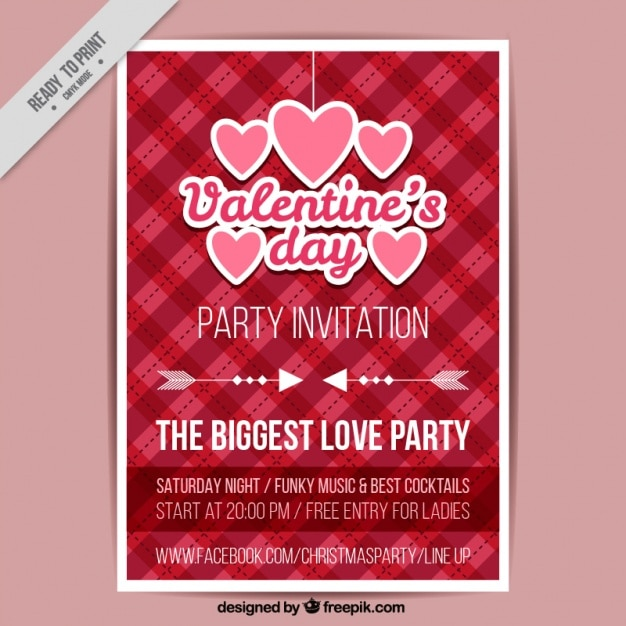 Valentine's day poster with hearts and checkered background Free Vector